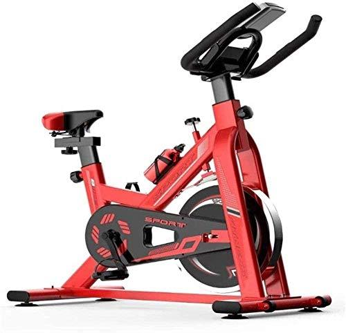 Bicicleta de spinning para interiores silenciosa con pantalla digital LED Instrumento ajustable antideslizante rodamiento de pies 150 kg máquina de ejercicio cómoda-106 x 21 x 79 cm_rojo