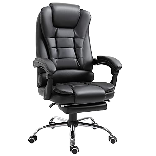 HOMCOM Ergonomic Executive Office Chair High Back PU Leather Reclining Chair with Retractable Footrest Lumbar Support Padded Headrest Armrest Black