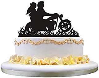Motorcycle Wedding Cake Topper- Bride and Groom Cake Topper Perfect for Wedding Decor