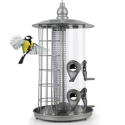WILDLIFE FRIEND | Deluxe 3-in-1 Futtersäule für Vögel Silber aus Metall – Meisenknödelhalter, Samen Futtersäule & Erdnuss Futtersäule, Vogelfutterhaus für kleinere Wildvögel