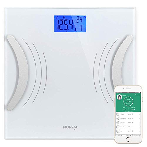 NURSAL Smart Body Fat Scale, Home Bluetooth APP Bathroom Digital BMI Weight Scale for Monitoring Body Data, 396 lbs Max