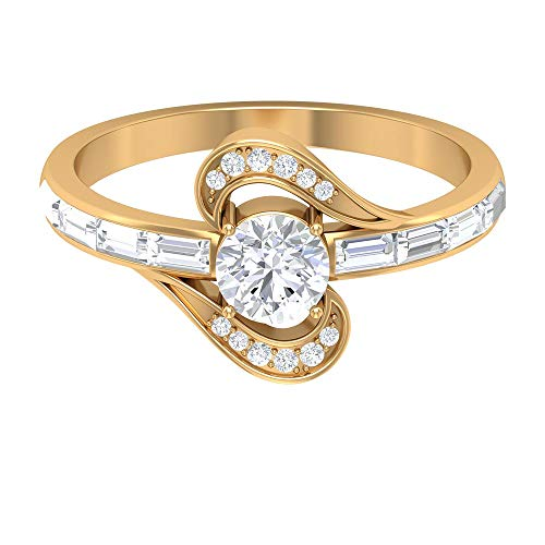 Women 1.00 CT Solitaire Certified Diamond Engagement Ring, HI-SI Baguette Round Diamond Twisted Vintage Wedding Promise Ring, Bridal Anniversary Rings, 14K Yellow Gold, Size:UK L