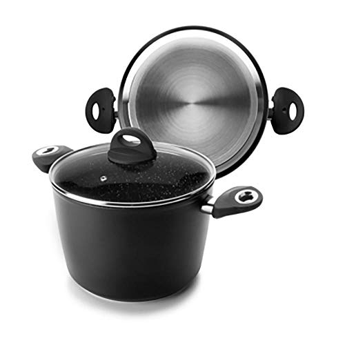 IBILI Olla Cocina Alta con Tapa Fondo difusor 20cm Aluminio