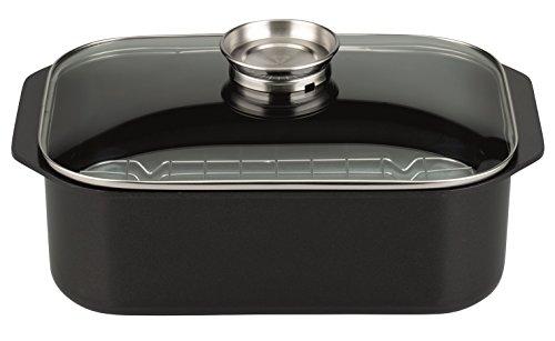 ELO 40 Tapa inducción Rustidera/Bandeja Horno/Capacidad 7l / 40x26cm / 1ud, Aluminio Fundido con Revestimiento Antiadherente Greblon Cristal con Borde en Acero Inoxidable, Negro, 40 cm