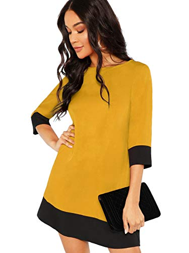 Floerns Women's 3/4 Sleeve Color Block Shift Tunic Dress Yellow R L