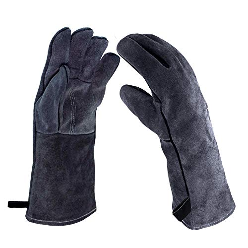 Homeatk Kaminhandschuh Leder, 500°C Feuerfest Handschuhe,Profi Dick Grillhandschuhe Hitzebeständig Extra Lang Grillen Kamin Ofen Ofenhandschuhe,Grau