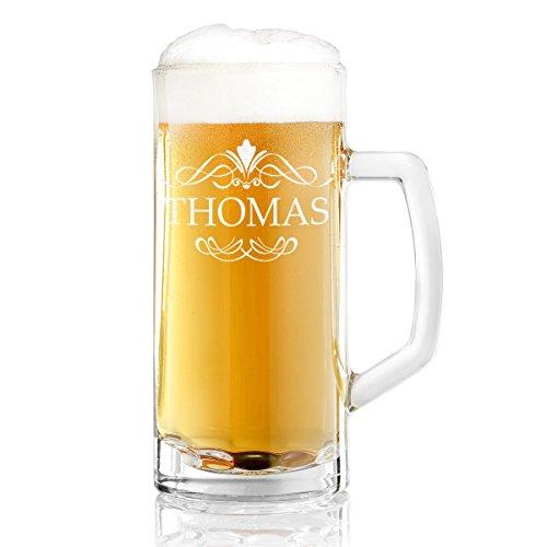 polar-effekt Bierkrug Personalisiert mit Gravur eines Namens – Bierseidel Geschenk-Idee zum Geburtstag - Motiv Ornament 0,5l