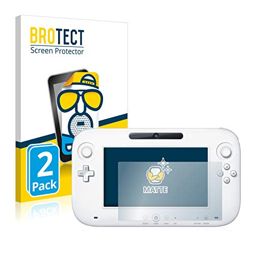 BROTECT Protector Pantalla Anti-Reflejos Compatible con Nintendo Wii U Gamepad (Controller) (2 Unidades) Pelicula Mate Anti-Huellas