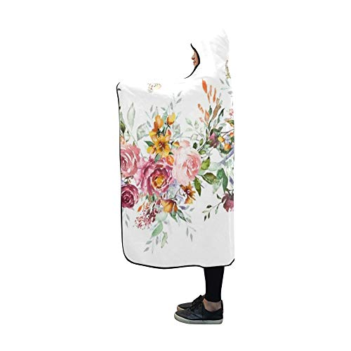 Plsdx Mit Kapuze Decke isoliert Grenze rosa Blumen Blätter Decke 60 x 50 Zoll Comfotable Hooded Throw Wrap