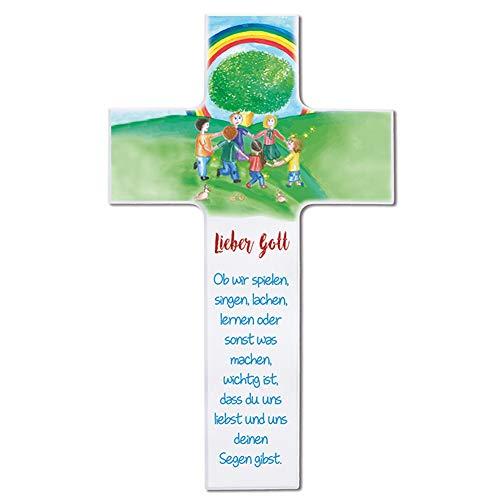 Fritz COX® - Kinderkreuz 'Ob wir spielen, singen, lachen' 15cm weiß - kindliches Wandkreuz für jedes Kinderzimmer
