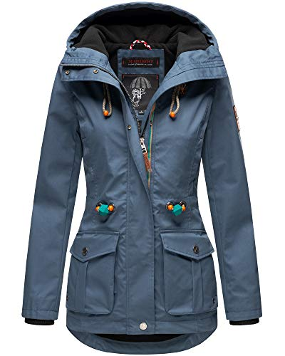 Marikoo Damen Jacke Frühling Outdoor Wasserabweisend Übergangsjacke Parka Mantel Kapuze Babetaa XS - XXL 5 Farben 2021 (Blue, XS - 34)