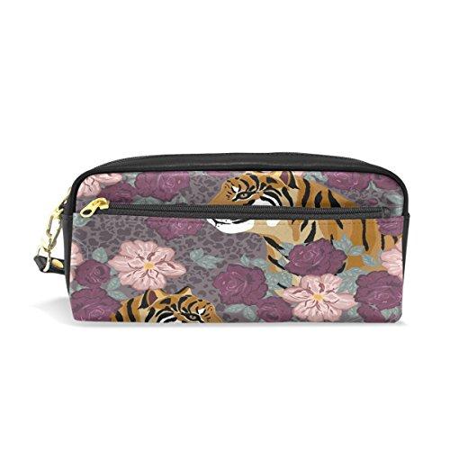 Trousse de voyage, tigre Imprimé floral Maquillage Pouch Grande capacité étanche Cuir 2 compartiments pour filles garçons femmes Hommes