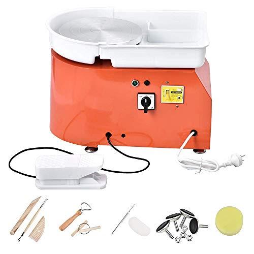 TOPQSC Máquina de Ruedas de Cerámica 25CM 350W Máquina Cerámica Trabajo Profesional para Bricolaje de Cerámica Pottery Wheel Machine Trabajos de Cerámica con Kit de Herramientas