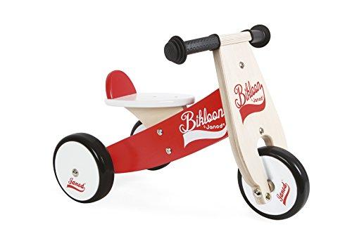 Janod - J03261 - Triciclo Little Bikloon de madera de color rojo y blanco, aprendizaje del equilibrio e independencia para niños a partir de 1 año