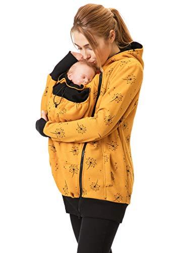 GoFuture® 5in1 Babytragejacke Baby Tragen auf der Brust & dem Rücken Umstandsjacke Normale Tragejacke ABRITER Sweatstoff Höchste Qualität (Gelb mit Pusteblumen, Large)