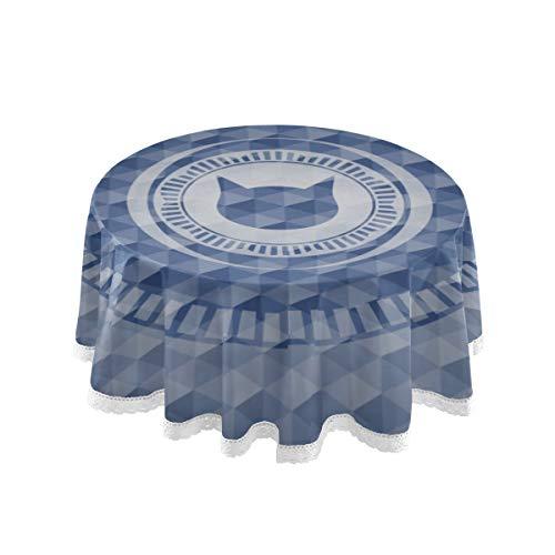 YUXB Mantel Icono de Cara de Gato de 60\Dentro de Emblema Azul Manteles Redondos para Cubierta de Mesa Circular Pano de Mesa Pano de Mesa de Comedor Redondo de Pol