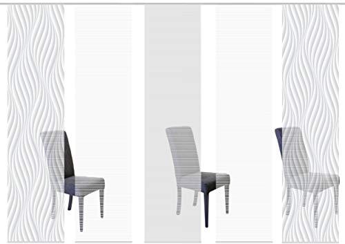Vision S 95720 | 5er-Set Schiebegardinen Wave | halb-transparenter Stoff in Bambus-Optik | 5X 260x60 cm | Farbe: (grau)