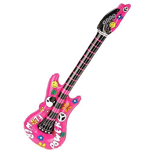 Guitarra hinchable rosa babacool Hippie Vintage Inflatable Flame Guitar para Adultos 105cm