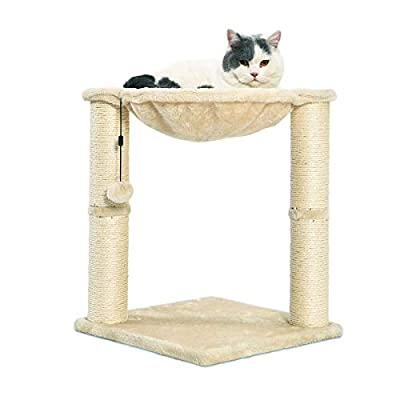 AmazonBasics Cat Condo Tree Tower With Hammock Bed And Scratching Post, 16 x 20 x 16 Inches, Beige