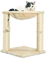 Amazon Basics - Torre en árbol con cerramiento, hamaca, cama y poste rascador para gatos, 40,6x50,8x40,6 cm, beige