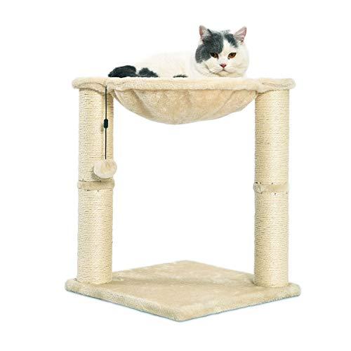 AmazonBasics – Katzen-Kratzbaum mit Haus, Hängematte, Bett und Kratzstamm, 41 x 51 x 41 cm, beige