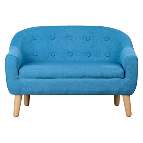 Kids Sofa,Linen Fabric 2-Seater Upholstered Couch,Perfect for Children Gift(30-Inch) (Blue)