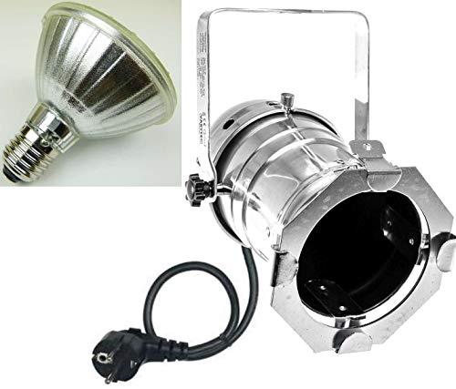PAR 30 Spot-Light Scheinwerfer SILBER polish PAR-30 incl. 11 Watt LED Leuchtmittel & Kabel mit Schuko-Stecker