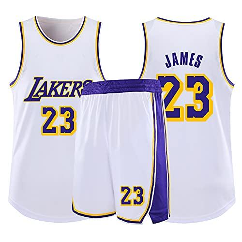 HAZYJT Camiseta de Baloncesto NBA Legend para Hombre - L.A. Lakers # 23 Lebron James Uniforme de Baloncesto Camisa Bordada Chaleco Shorts Set Swingman Jersey, White-3XL (175~180cm)