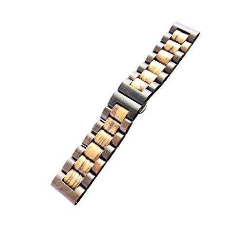 Nobranded Banda de Reloj de Sándalo única con Pasadores de Liberación Rápida de 22 Mm para Huami - marrón