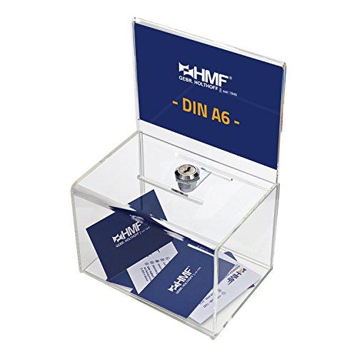 HMF 46912 Acryl Spendenbox mit Blatteinschub | 15,5 x 11 x 11 cm | DIN A6 | Transparent