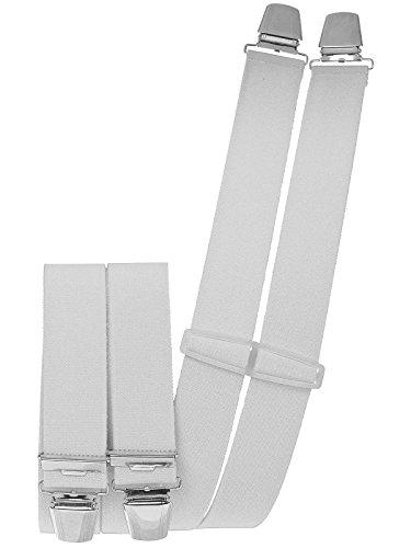 Hosenträger mit 4 extra starken Clips weiß