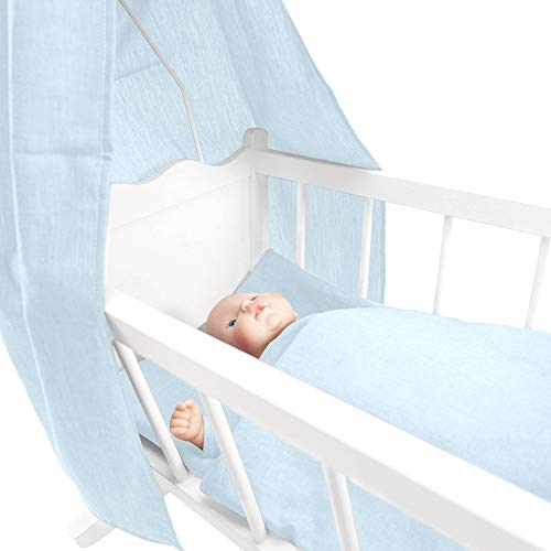 Sugarapple 4-delige set voor poppenwiegen bestaande uit hemel, kussens, dekbed, matras van katoen, sterren roze Uni lichtblauw