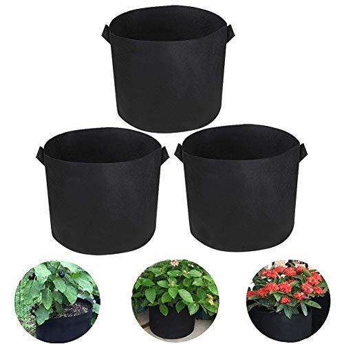 BETOY Pflanze Grow Bag, 3 Stück 3 Gallonen Atmungsaktive Pflanzsack aus Vliesstoff Pflanztasche mit Griffe, für Kartoffeln, Erdbeeren, Pflanzen, Tomaten, Gemüse, Kräute, Schwarz(25x22cm)