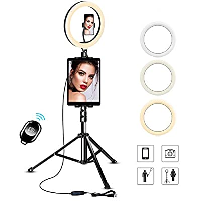 "UFula 10.2"" Selfie Ring Light with Tripod Stand & Phone/Pad Holder for Live Sream/Makeup Mini LED Camera Ringlight for YouTube Video/Photography Compatible with iPhone 11 Xs Max XR iPad Android by Ufula"