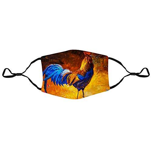 Gesichtsschutz Ölgemälde Bunter Hahn Moderner Impressionismus Mode Einstellbare Polyester Earloop Muffel Sturmhauben Unisex Anti-Staub-Verschmutzung Radfahren Mundabdeckung