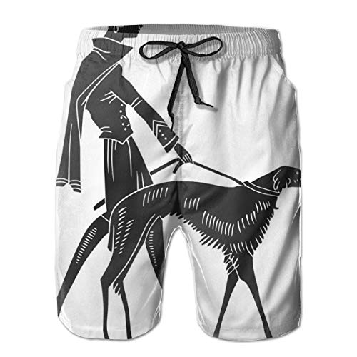 Men's Swim Trunks Board Shorts Beach Pants Surfing Boardshorts,Fashion Woman with Dog Walking Model Canines Lady Beauty Illustration,Fancy Print Hawaiian Shorts Four Size,Large