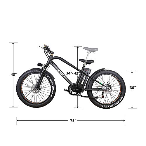 NAKTO 26' City Fat Tire Adult Electric Bicycles and 300W Assisted Bicycle for Men Woman with Removable 36V 10A Large Capacity Lithium Battery and Charger