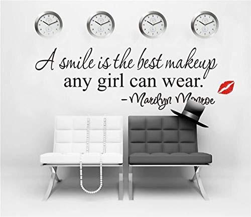 Moda Motivacional Una sonrisa es la mejor maquillaje Marilyn Monroe Cotizaciones de la pared Pegatinas de la pared Palabras decorativas Letras Simple extraíble DIY Vinilos de la pared Sala de estar, D