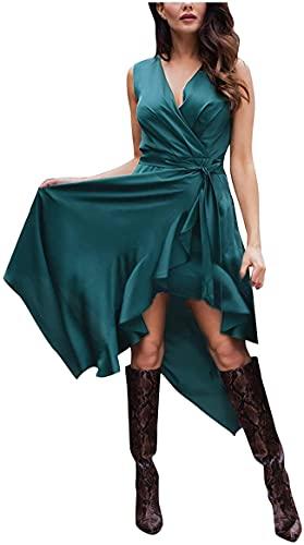 DFLYHLH Vestidos pequeños para mujer, vestidos para mujer, bohemios, floral, suelta, manga corta, cuello en V, vestido maxi dividido, verde, M