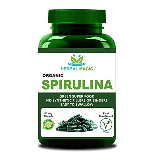 Natrual Spirulina Capsule (60) High in Protein, Calcium and Vitamins, B12, Nutrient Rich Superfood - Whole Plant Used (Capsule)