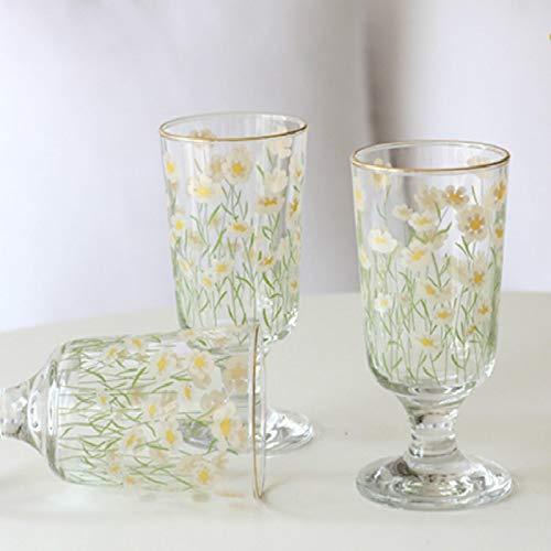 Vaso de chupito de crisantemo de whisky vintage de 280 ml, tulipanes de lámina dorada, batido de leche, vodka, juego de copas de vino multiusos