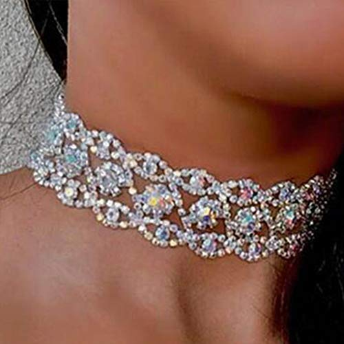 Pendant Necklace (1 set)Women Crystal Rhinestone Choker Necklace Full Diamond Collar Gothic Wedding Gift,The gift for yourself, family and friends.Silver AB color