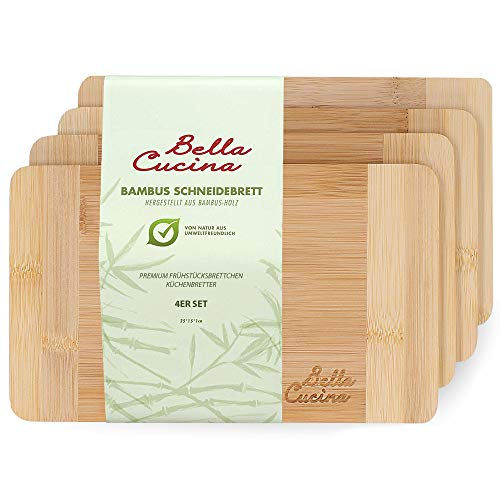BELLA CUCINA Premium Frühstücksbrettchen | Bambus-Holz Küchenbrett | Frühstücksbretter | Schnittfest (4 Brettchen(klein))