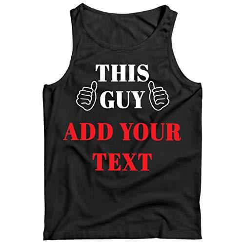 lepni.me Camisetas de Tirantes para Hombre Este Tipo añadir su Texto Personalizado Traje de cumpleaños de la manía para él (M Negro Multicolor)