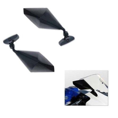 Compatible con Yamaha YZF R 125 - Par de espejos retrovisores de carenado para moto retrovisor Far negro 7350 + 7351 + Kit de montaje M.6 incluido espejos deportivos no homologados