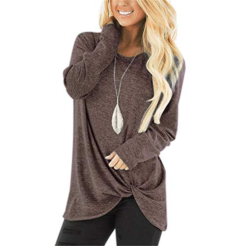 Z&Y Glaa Women's Long Sleeve Crewneck T Shirt Sweatshirt Tops with Pockets Women's Long Sleeves Tops V Neck Sweater Shirt Thin Knit Pullover Blouse Long Sleeve Crew Neck Sweatshirt Solid Color