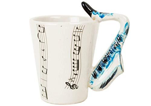 Saxophon Kaffeetasse handgefertigt Keramik Blau 225g (10cm x 8cm)