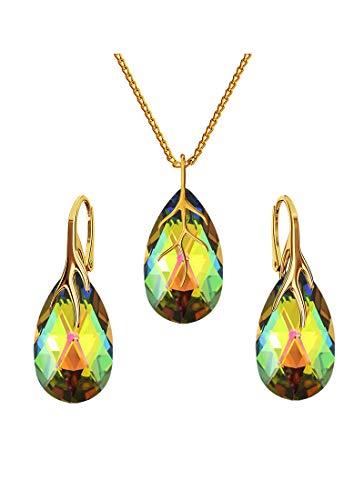 Beforya Paris* * * Almendra * – Plata 925 chapado en oro 24 K – Juego de joyas para mujer * Vitrail Medium * joyas con cristales de Swarovski Elements – Pendientes y collar con caja de regalo BAP39