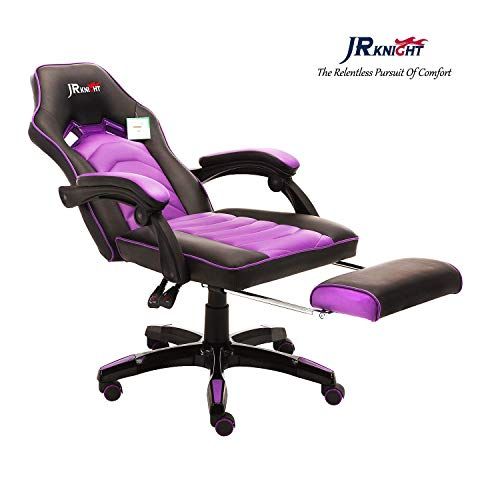 JR Knight LC-02 Silla de Juegos para Adolescentes, diseño Inteligente para la Oficina, casa, Oficina, computadora, Silla giratoria de Cuero Exclusiva, con sillón reclinable y reposapiés