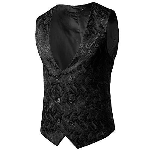 Mens Gentleman Formal Slim Fit Double Breasted Dress Suit Vest Wave Print Wedding Waistcoat for Business Man (Color : Black, Size : L.)